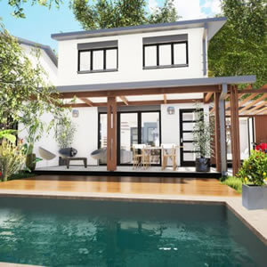Une maison avec une piscine à La Réunion