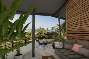 Une terrasse ombragée avec vue sur la mer à La Réunion
